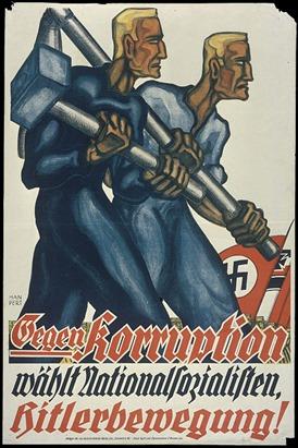 nazismo - cartaz nazista denunciando corrupção no governo alemão